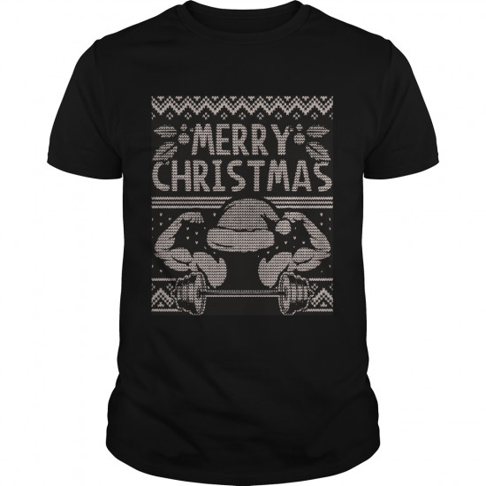 Weight Lifting Ugly Christmas Sweater Style Muscle Shirt